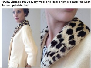 Listing for snow leopard fur coat on Etsy