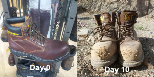 Koustubh's new boots, before and after the trip