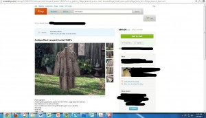 a listing for a leopard coat on Etsy