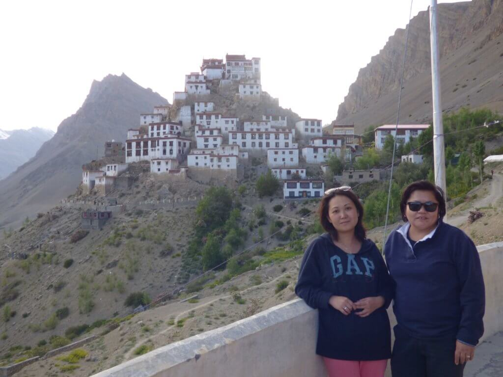 Venera (left) and Altyn in front of Key Monastery, Spiti.